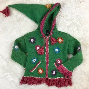 Handmade Child's Cardigan Green Alpaca Wool 4T